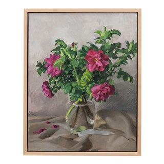 """""""Moje Hammarberg Roses in a Vase"""" Contemporary Floral Still Life Oil Painting, Framed For Sale"""