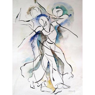 """Original Abstract Figurative """"Movement 4"""" Painting For Sale"""