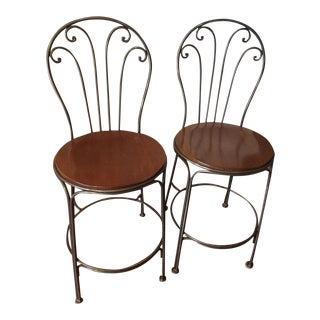 Scrolled Iron Counter Height Stools - A Pair