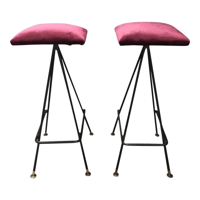 Adrian Pearsall Handmade #11 Bar Stools- A Pair For Sale