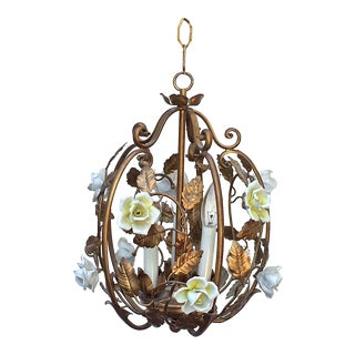 Vintage Hollywood Regency Gold Gild and Porcelain Flowers Birdcage Chandelier For Sale