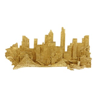 Mid-Century Modern Brutalist Nyc Cityscape Wall Sculpture, Signed For Sale