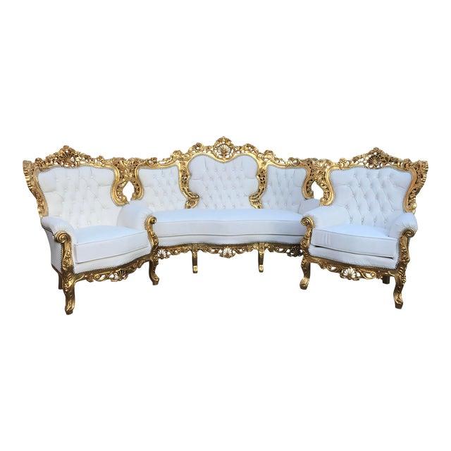 1940's Italian Rococo Living Room Set- 3 Pieces For Sale