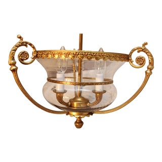 Klaff's Collection Gilded Brass Hand Blown Glass 3 Light Chandelier For Sale