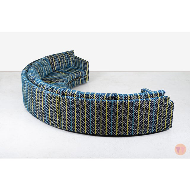 Blue Milo Baughman Curved Sectional Sofa For Sale - Image 8 of 12