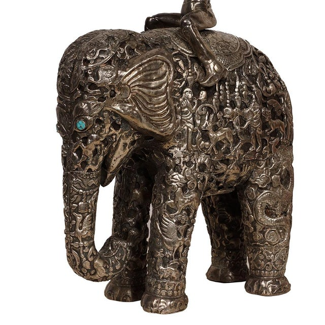 Metal Late 19th Century Antique Man on Elephant Hand Carved Tibetan Sculpture For Sale - Image 7 of 13