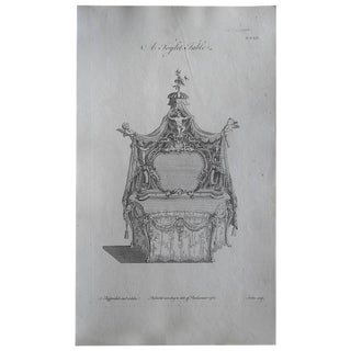 Authentic Antique 18th C. Thos. Chippendale Furniture Engraving-Ornate Bed For Sale
