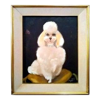 "Logat ""My Darling"" Poodle Portraiture Oil Painting c. 1950's"