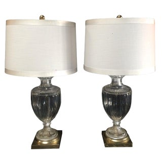 Pair of Crystal or Brass Urn Table Lamps For Sale
