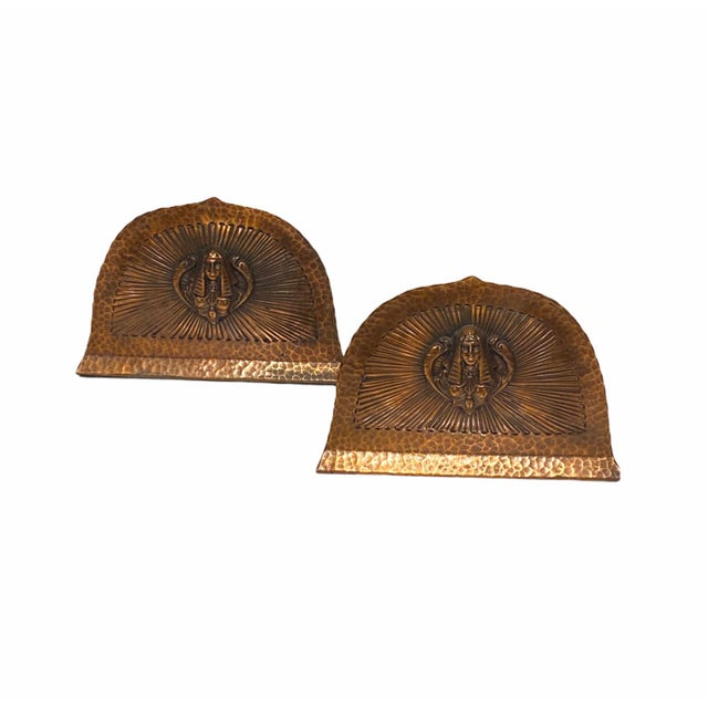 Art Deco Egyptian Revival Hand Hammered Copper Bookends - a Pair For Sale - Image 11 of 11