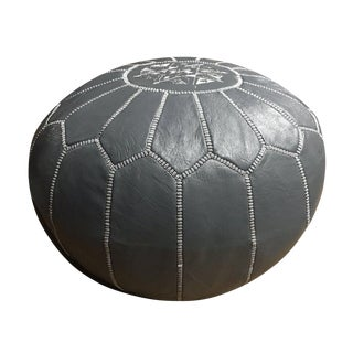 Dark Grey Pouf by Mpw Plaza (Stuffed), Moroccan Leather Pouf Ottoman For Sale