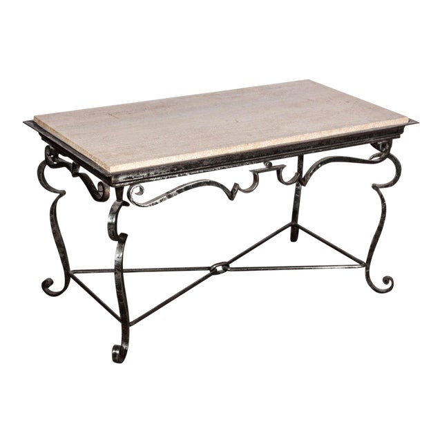 Iron Coffee Table With Travertine Marble Top Chairish