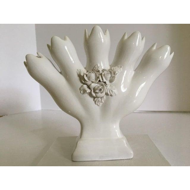 Vintage Portuguese Tulipiere/Five Finger Vase For Sale - Image 9 of 12