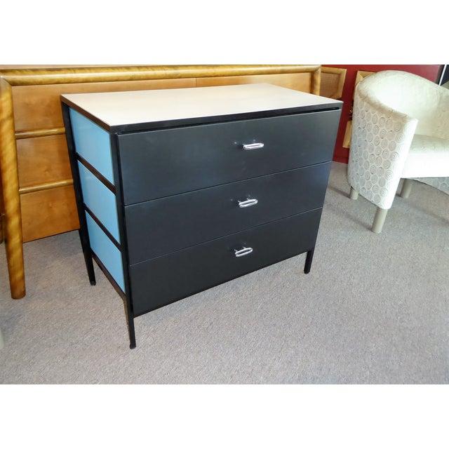 George Nelson Mid-Century Modern Steel Frame Blue and Black Dresser for Herman Miller, 1960s For Sale - Image 12 of 13