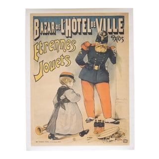 Vintage Bazar De l'Hotel De Ville Etrennes Jouets Poster C1915 For Sale