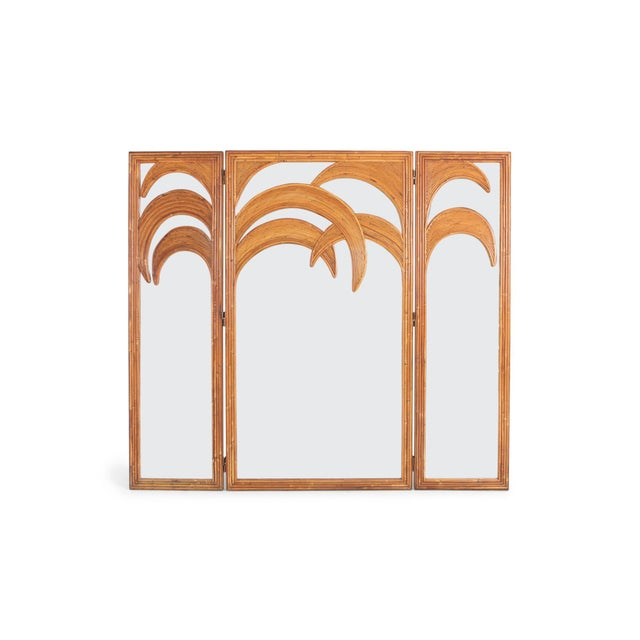 Gabriella Crespi style self standing screen in rattan and mirrored glass that functions as a very high end room divider....