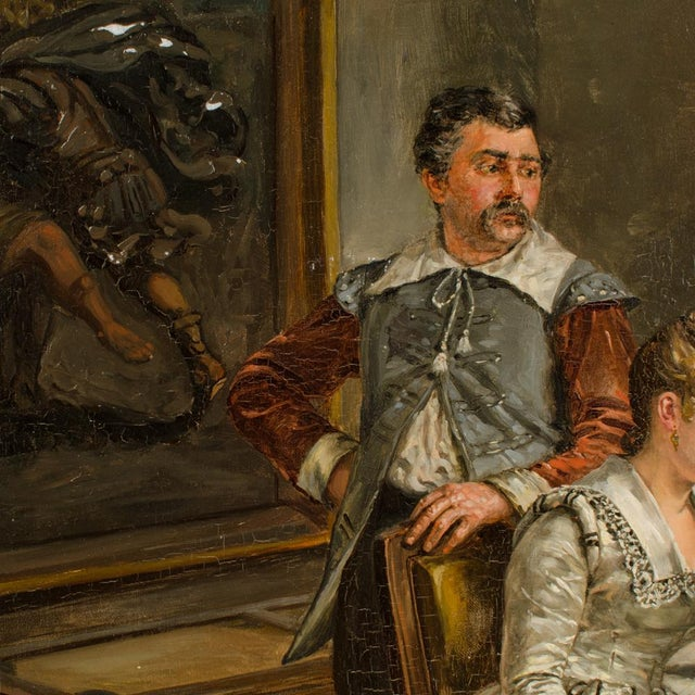 """Mid 19th Century """"The Meeting"""" Figurative Victorian Oil Painting by Eduard Merk For Sale In Philadelphia - Image 6 of 10"""