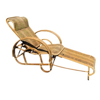1920s Vintage Cane Pretzel Wood and Bamboo Patio Lounge Chair For Sale