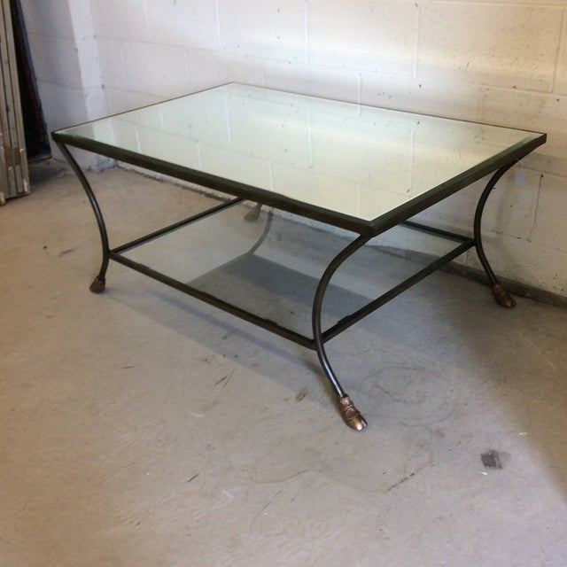Classic French look. Heavy iron base with mirrored top and clear glass lower tier. Iron is a dark grey green color and...