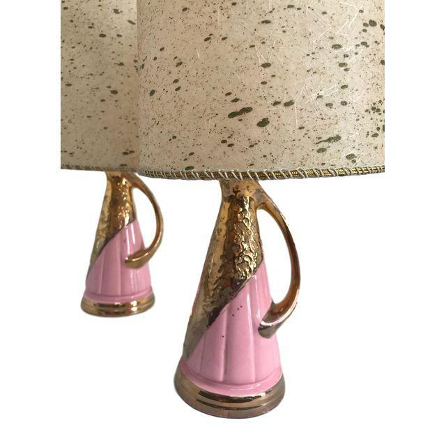 Pink & Gold Vintage Lamps - A Pair - Image 3 of 9