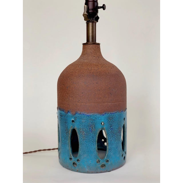 Contemporary Blue Glazed Ceramic Table Lamp For Sale - Image 4 of 4