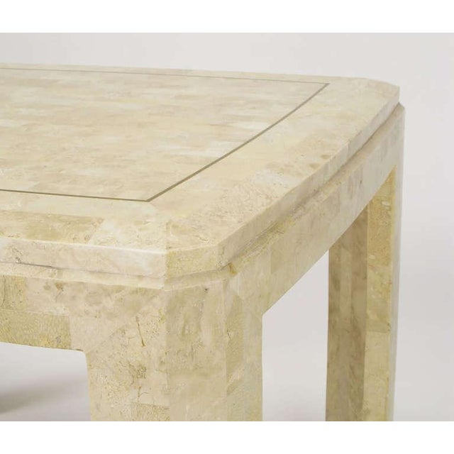 1980s Tessellated Fossil Stone & Brass Inlaid Coffee Table For Sale - Image 5 of 7