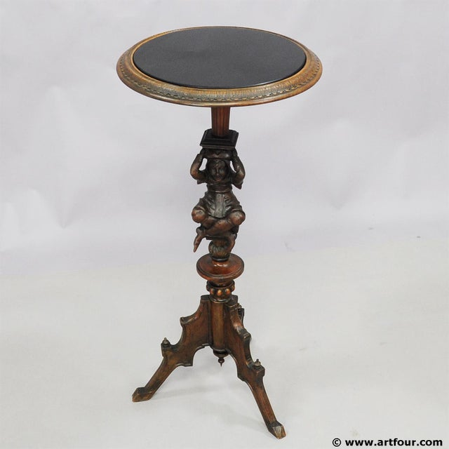Wood A Great Antique Gueridon With Carved Jester on the Base For Sale - Image 7 of 11