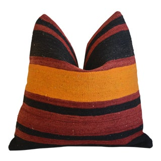 """Orange & Red Colorful Striped Wool Rug Carpet Feather/Down Pillow 20"""" Square For Sale"""
