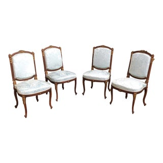 French Louis XVI Mahogany Chairs With Silk Damask - Set of 4 For Sale