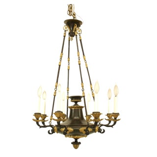 1820s French Empire Bronze and Gilt Trimmed Chandelier For Sale