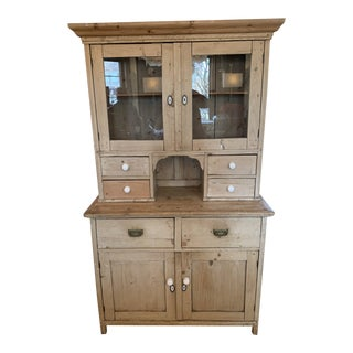 1920s English Stripped Pined China Cabinet For Sale