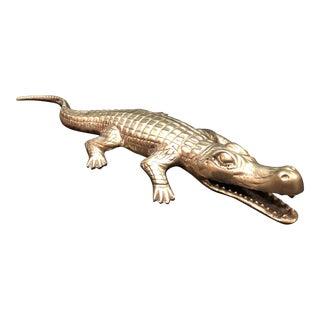 """Vintage Solid Brass 15.5"""" Alligator Crocodile For Sale"""