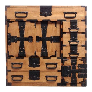 Antique Kiri Wood Meiji Japanese Merchants Chest with Iron Accents, 19th Century For Sale