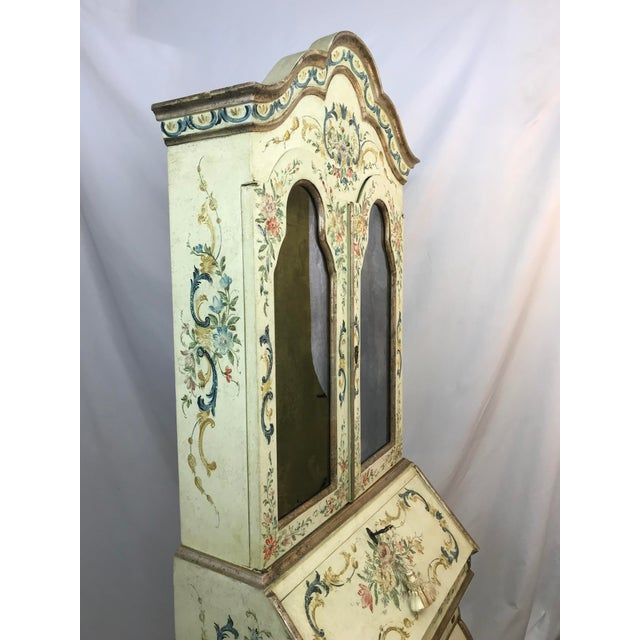 Late 20th Century 20th Century Cottage Quaint Floral Painted Secretary Desk For Sale - Image 5 of 11