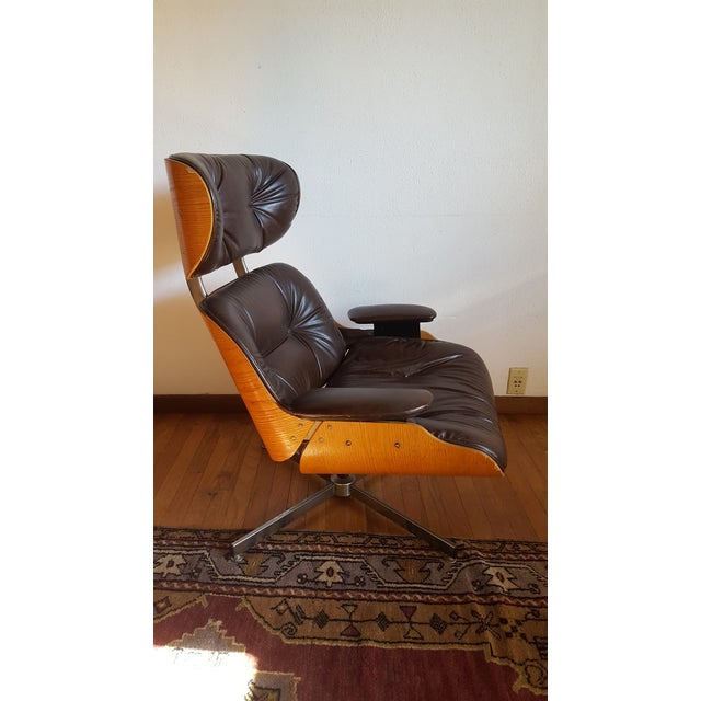 Oak Vintage Eames Style Chocolate Selig Plycraft Lounge Chair For Sale - Image 7 of 11