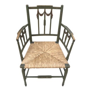 1920s Vintage Painted Adams Style Rush Seat Arm Chair For Sale