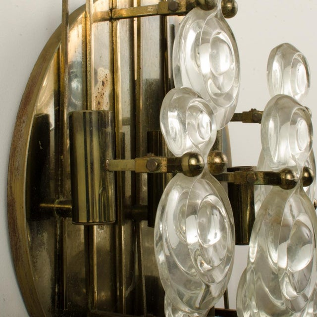 Silver 1965 Mid-Century Italian Glass And Brass Wall Sconce For Sale - Image 8 of 13