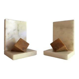 1960s Marble Cube Bookends - a Pair For Sale