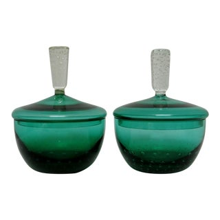 Erickson Glass Lidded Bowls, a Pair For Sale