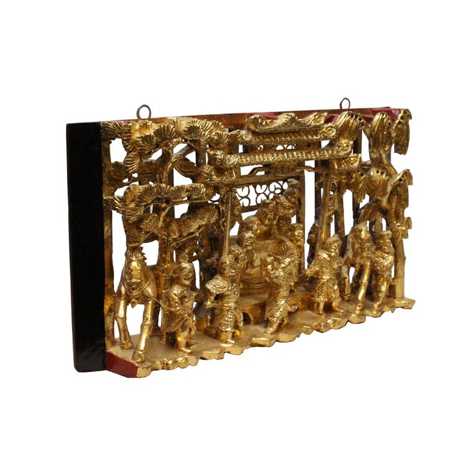2010s Chinese Vintage Restored Warfield Opera Scenery Wooden Panel Wall Art For Sale - Image 5 of 9