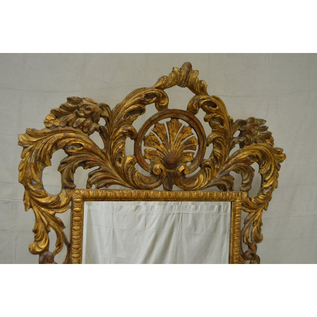 Rococo Style Large Giltwood Beveled Wall Mirror - Image 8 of 10