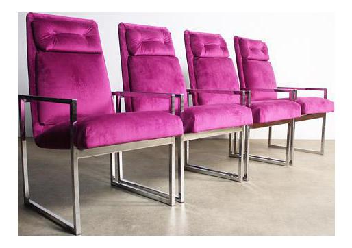Milo Baughman Chrome Dining Chairs   Set Of 4