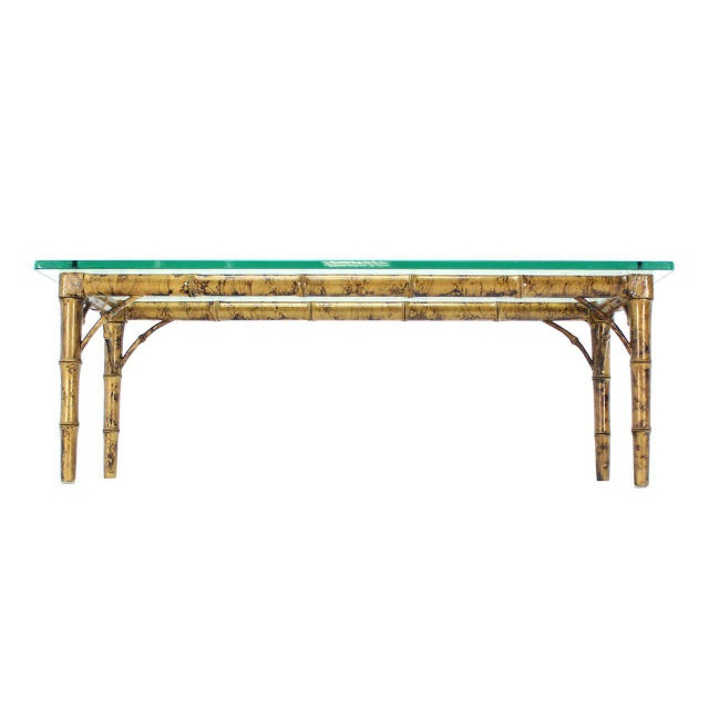 Mid-Century Modern Lacquered Wood Faux Bamboo with Glass Top Rectangular Coffee Table For Sale - Image 3 of 8