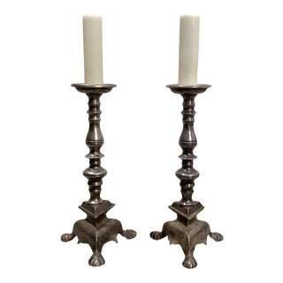 Baroque Pewter Candlestick Lamps - a Pair For Sale