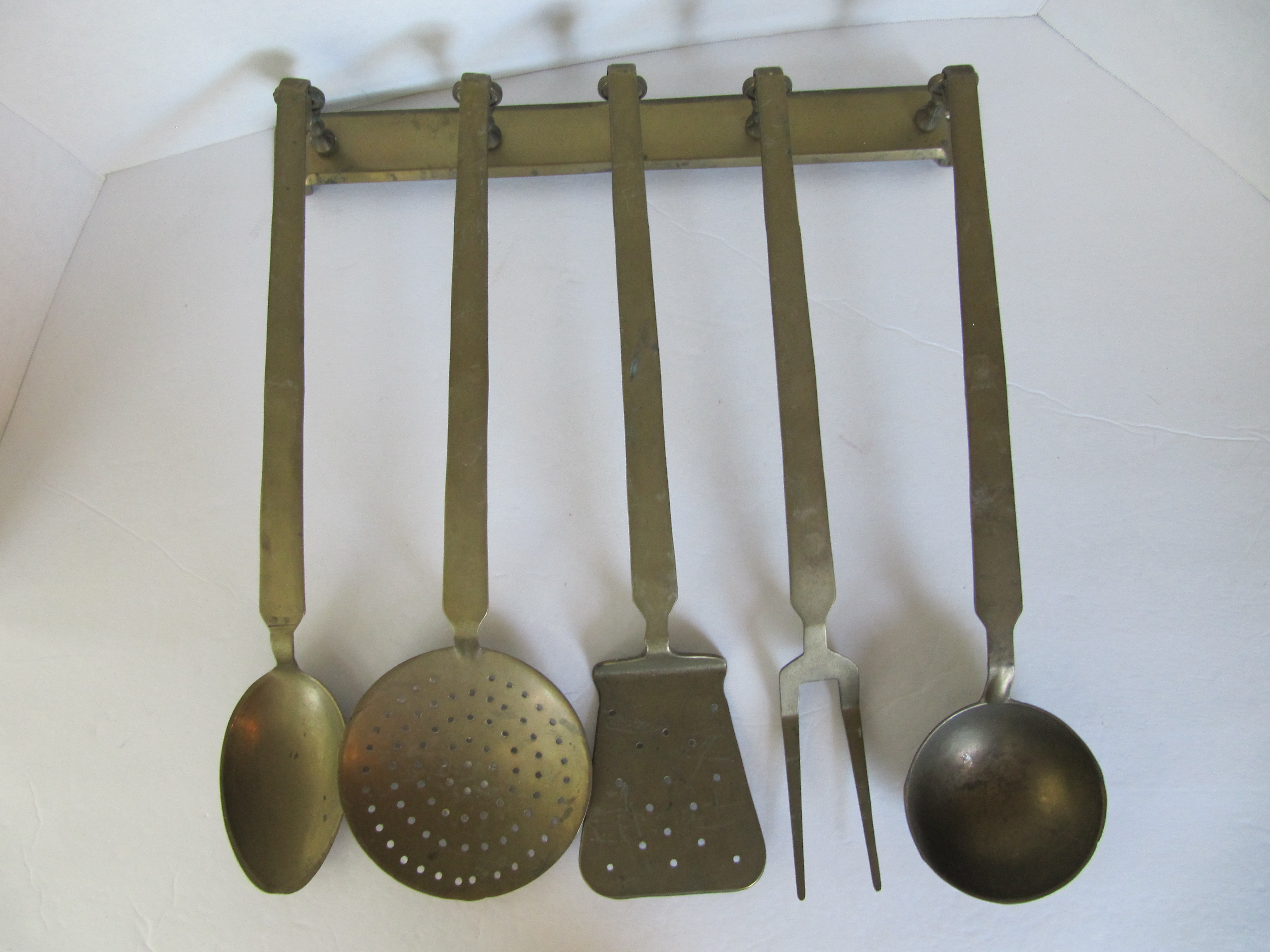 Superb Vintage Hanging Brass Utensils   Set Of 5   Image 2 Of 7