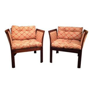Mid Century Danish Modern Plexus Lounge Chairs in Rosewood by Illum Wikkelso - a Pair For Sale