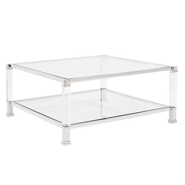 2020s Kenneth Ludwig Claire Acrylic & Chrome Coffee Table For Sale - Image 5 of 5
