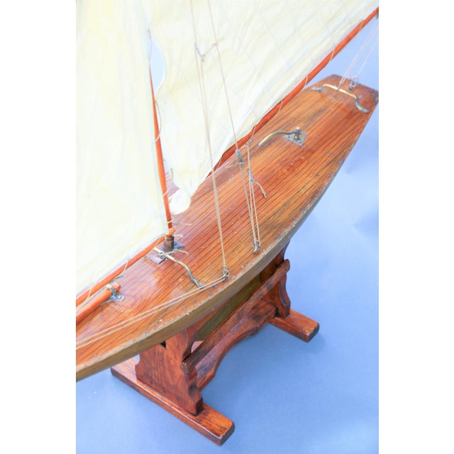 Large fine quality early English gaff-rigged cutter pond yacht. It retains the original canvas topsail and 2 foresails....