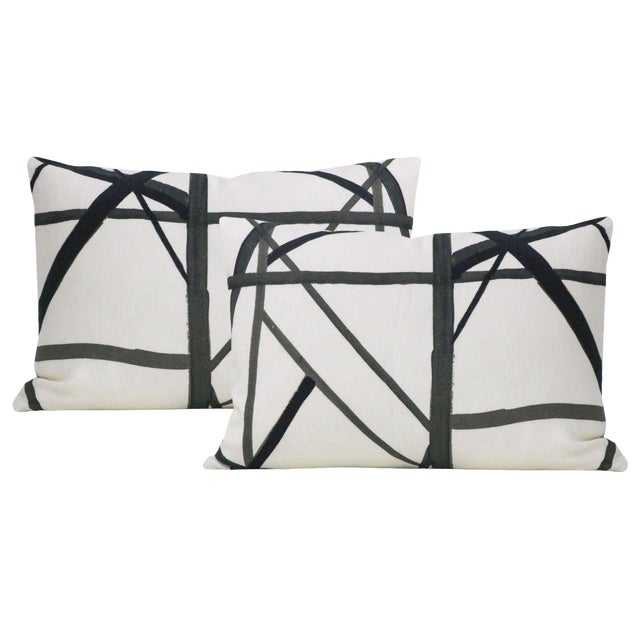 "12"" X 18"" Channels Ebony Lumbar Pillows - a Pair For Sale"