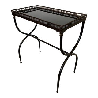 1940s Mid-Century Modern Patinaited Metal and Black Granite Gallery Edge Table For Sale